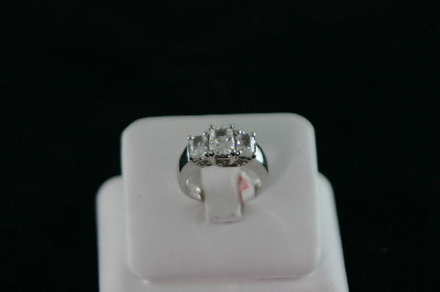 14KT White Gold 3 Stone Emerald Cut Cubic Ring