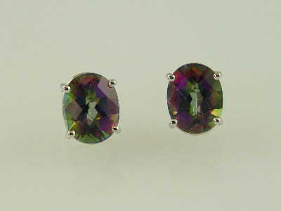 14KT White Gold Oval Mystic Topez 8.80ct Stud