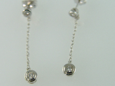 14KT White Gold Dangle Bezel Set Diamonds 0.40ct earring