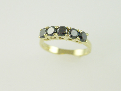 14KT Y/G Black Diamond 1.15ct Band