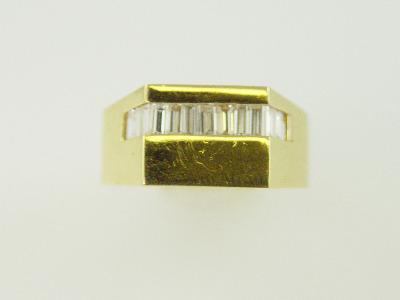 14KT Y/G Channel Set Diamond Baguette 1.00ct Ring 9.4gr