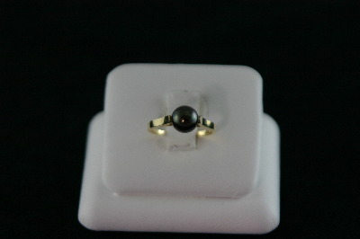 14KT Y/G One Black Pearl 7-1/2MM Ring