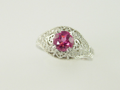 14KT White Gold Filigree Pink Tourmeline 1.22ct Diamonds 0.20ct Ring