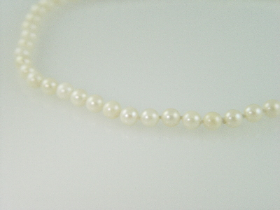 "34"" 7.5mm white Cultured Pearl Necklace"