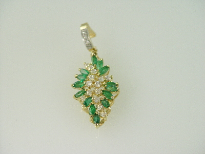 14KT Y/G EnhancerMarquise Emeralds 2.35ct/ Diamonds 0.38ct & Cubic Pendant