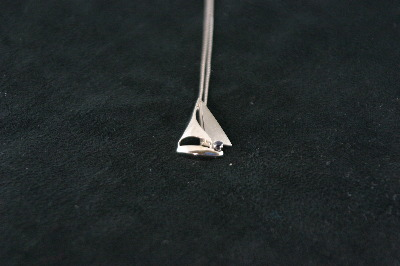14KT White Gold Sailboat with Sapphire 0.10ct Pendant