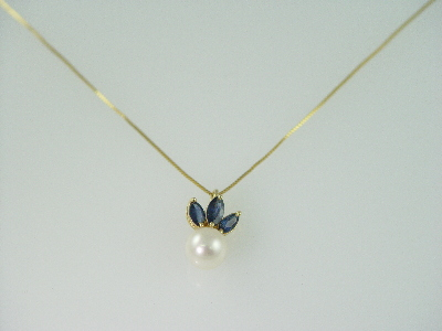 14KT Y/G 8mm Round Cultured Pearl with 3 Marquise Sapphires 0.60ct Pendant