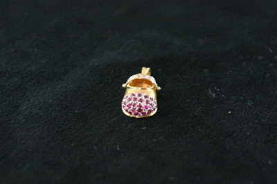 14KT Y/G Ruby 3.63T Diamond 0.06CT Baby Shoe Pendant