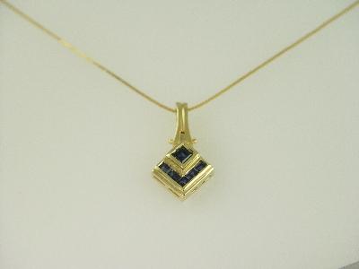 14KT Y/G Princess Cut Sapphire 1.25ct Pendant