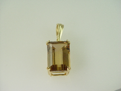 14KT White Gold Emerald Cut Smoky Topez 12.74ct Pendant