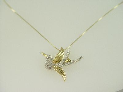 14KT Y/G Diamond Pave' 0.85ct Bird Pendant