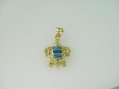 14KT Y/G Triplett Opal Turtle Pendant