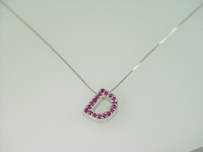 "14KT White Gold Pink Sapphire 0.60ct ""D"" Pendant"