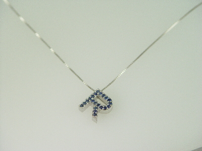"14KT White Gold Sapphire 0.40ct Initial ""R"" Pendant"