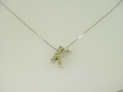 "14KT Y/G Sapphire 0.40ct Initial ""K"" Pendant"
