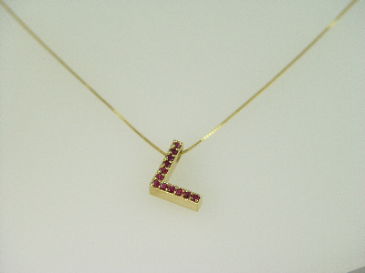 "14KT Y/G Ruby 0.45ct Initial ""L"" Pendant"