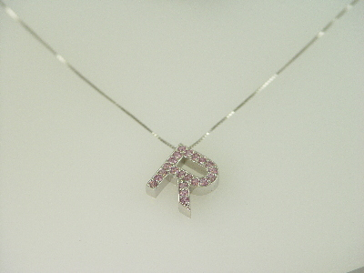 "14KT White Gold Pink Sapphire 0.65ct Initial ""R"" Pendant"