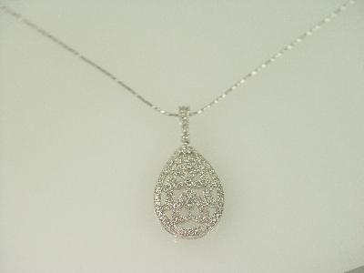 14KT White Gold Diamond 0.40ct Filigree Oval Design Pendant