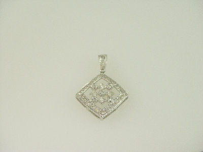 14KT White Gold Diamond 0.65ct Pave' Bezel Pendant