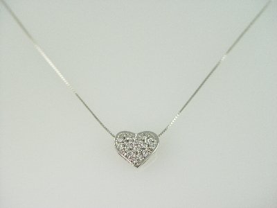 14KT White Gold Diamond 0.50ct Pave Heart Pendant
