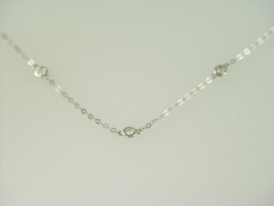 "14KT White Gold 20"" Diamonds 0.50ct by the Yard Chain Necklace"