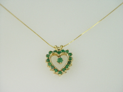 14KT Y/G Emeralds 1.32ct and 1-Dangle Emerald 0.28ct Heart Pendant
