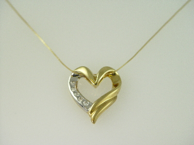 14KT Y/G & White Gold Hammer Set Diamonds 0.26ct Heart Pendant