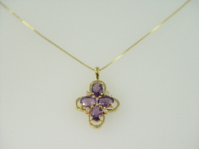 14KT Y/G Oval Amethyst 2.95ct and Four Diamonds 0.15ct Cross Design Pendant