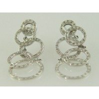 14KT White Gold Diamond 1.00ct circle Dangle Earring