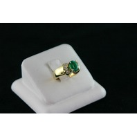 14KT Y/G Ballerina Diamond Baguette 0.90ct, Oval Emerald 1.35ct Ring