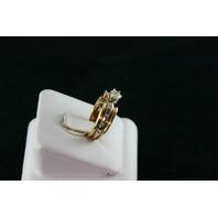 14KT Y/G Diamond 0.15ct-Center Round Diamond 0.50ct Ring