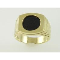 14KT Y/G Round Flat Onyx Ring 11.6gr