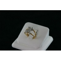 "14KT Y/G Diamond Pave ""H"" Ring 0.15ct"
