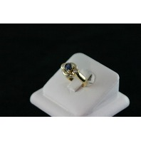 14KT White/Yellow Gold Bezel Set Sapphire 0.68ct Two Diamonds 0.28ct