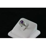 14KT White Gold Filigree Amethyst 1.08ct Diamonds 0.20ct Ring