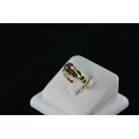 14KT Y/G Cluster Rubies 0.80ct Ring, 5.5gr