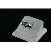14KT White Gold Blue Topez 0.80ct Heart Ring