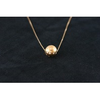 14KT Y/G Hammer Set Diamond 0.65 Ball Pendant