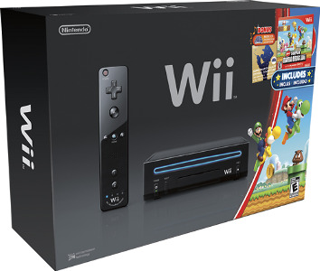 Nintendo Nintendo Wii Console (Black) with New Super Mario Bros. Wii Game and Music CD