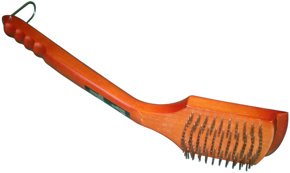 """deluxe 18"""" grill brush with hardwood handle with stainless steel bristles and scraper"""