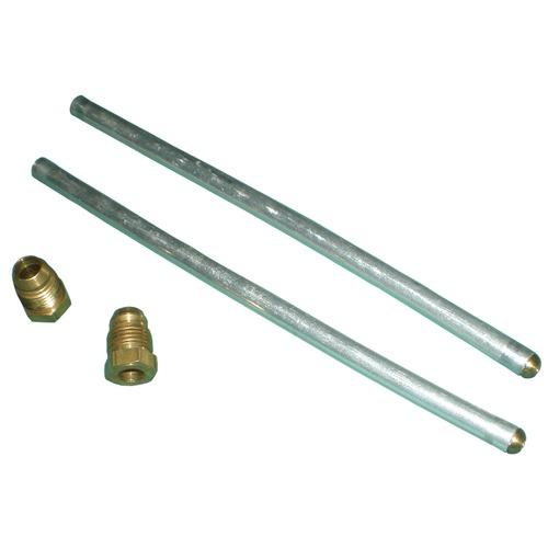 pair of aluminum plumbing tubes