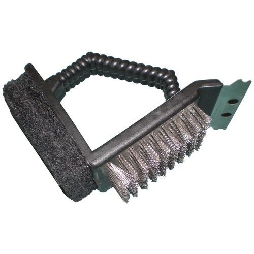 2-Way Grill Brush Stainless Steel Bristles with Scraper