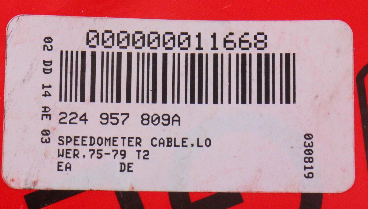 Speedometer Speedo Cable 75-79 VW Bus T2 Type 2 - Gemo Germany - 224 957  809 A