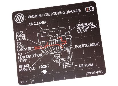 new vacuum hose routing diagram sticker vw / audi v6 - label - 078 010 160  a | carparts4sale, inc