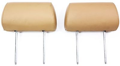 Pair of Rear Seat Headrests 00-03 Audi A8 D2 - Coconut Brown Leather -  Genuine