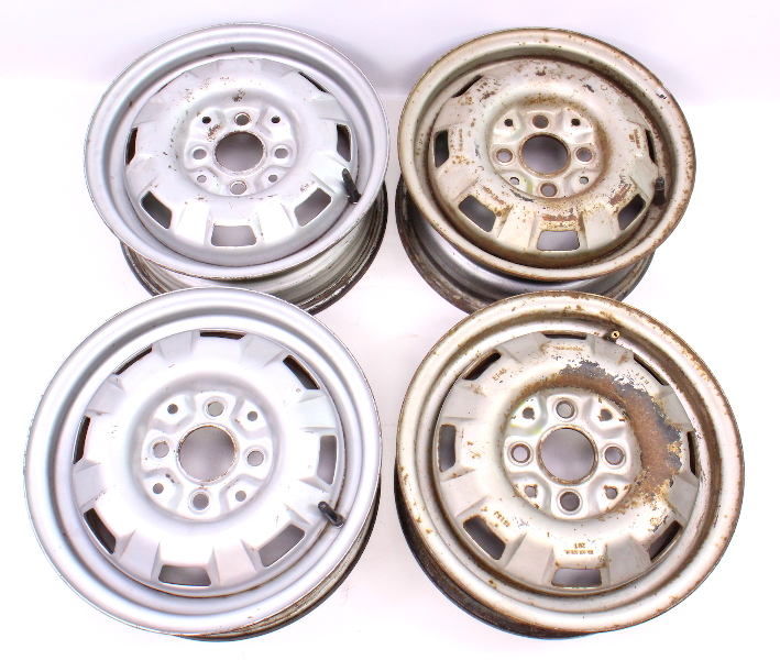 "13"" x 5"" Steel Wheel Rim Set 4x100 VW Jetta Rabbit Pickup MK1 - 175 601 025 H"