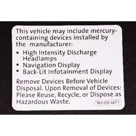 Mercury Warning Sticker VW Jetta Golf MK5 MK6 Passat CC Beetle - 1K0 010 467 T
