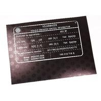 New Vehicle Emission Control Information Sticker - 2010 VW - 1K0 010 716 Q