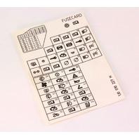 Fuse Diagram Key Card 99-05 VW Jetta Golf MK4 - Genuine - 1J0 010 227 H