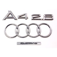 Trunk Emblems Badges A4 2.8 V6 96-02 Audi A4 B5 - Genuine